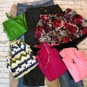 Sz 10 Lot 4 outfit 8pc Jeans Khaki Capri Skirt Top